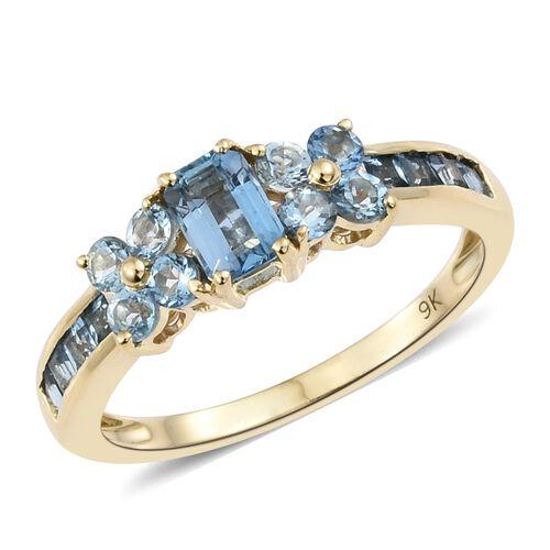 Designer Inspired-9K Yellow Gold AA Santa Maria Aquamarine (Oct) Ring 1.250 Ct.