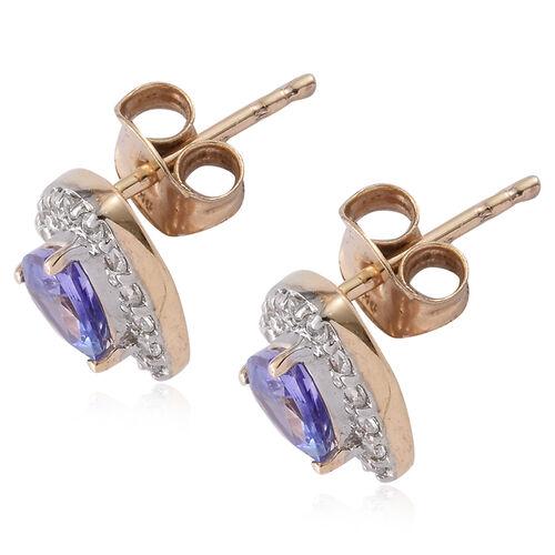 9K Yellow Gold 1.13 Carat AA Tanzanite (Trl), Natural Cambodian Zircon Stud Earrings (with Push Back)