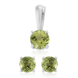 Hebei Peridot 1.75 Ct Silver Solitaire Pendant and Stud Earrings (with Push Back) in Platinum Overlay