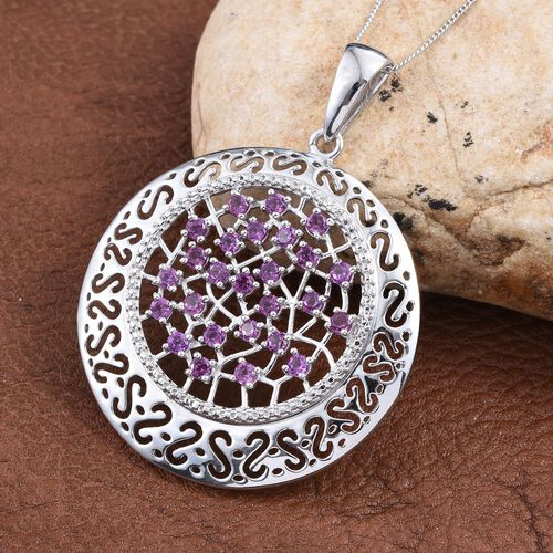 Rare Mozambique Grape Colour Garnet (Rnd) Pendant With Chain in Platinum Overlay Sterling Silver 2.500 Ct.
