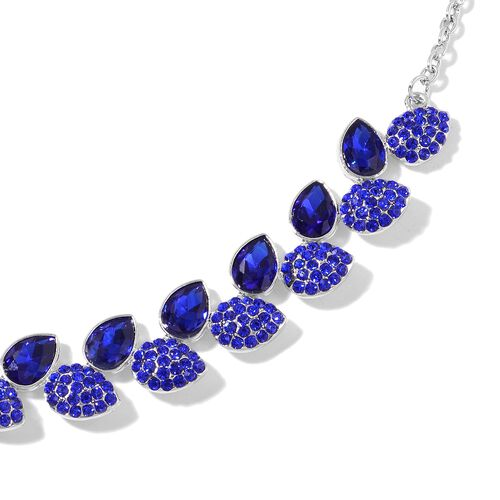 Simulated Tanzanite and Sapphire Blue Austrian Crystal Necklace (Size 20 with 3 inch Extender) in Silver Tone