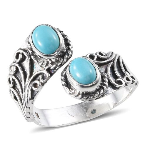 Jewels of India Arizona Sleeping Beauty Turquoise (Ovl) Ring in Sterling Silver 1.630 Ct.