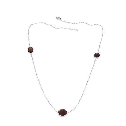 Jewels of India Brazilian Smoky Quartz Station Necklace (Size 20) in Silver Tone 6.990 Ct.
