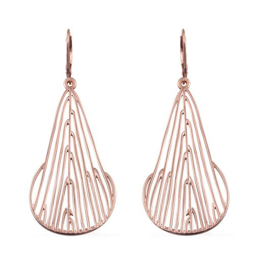 Rose Gold Overlay Sterling Silver Lever Back Earrings, Silver wt 9.87 Gms.