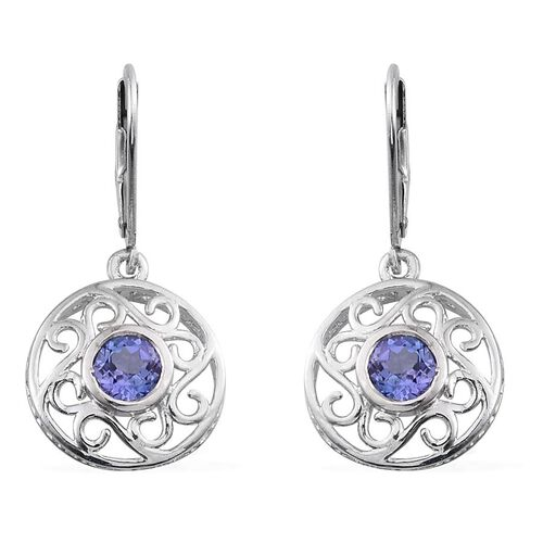 Tanzanite (Rnd) Lever Back Earrings in Platinum Overlay Sterling Silver 1.000 Ct.