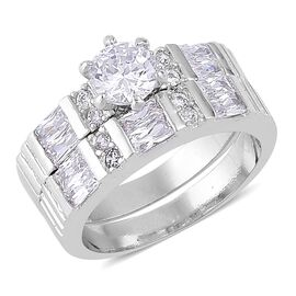 AAA Simulated White Diamond 2 Ring Set in Silver Tone