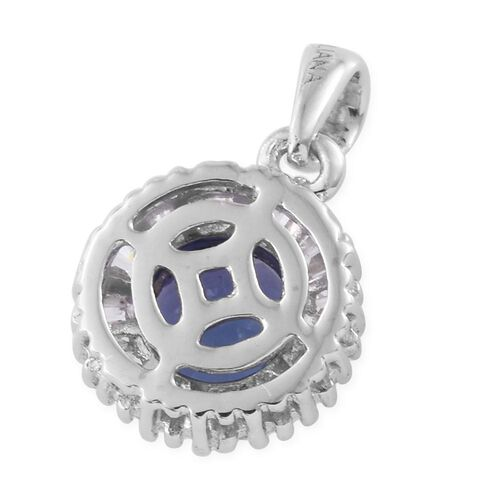 ILIANA 18K White Gold 0.75 Ct AA Tanzanite Halo Pendant with Diamond SI G-H