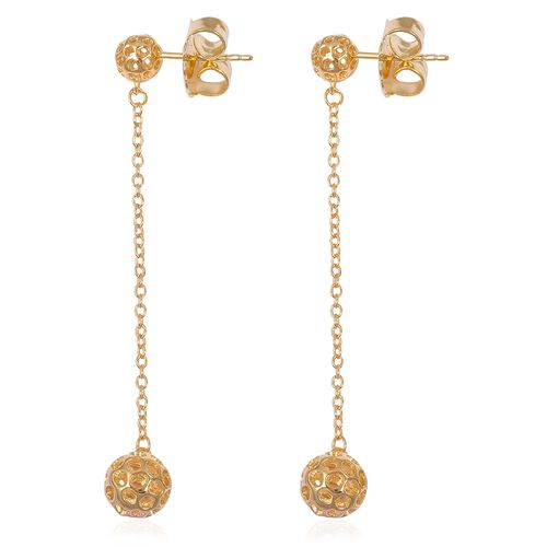 RACHEL GALLEY Yellow Gold Overlay Sterling Silver Lattice Globe Earrings (with Push Back), Silver wt. 4.10 Gms.