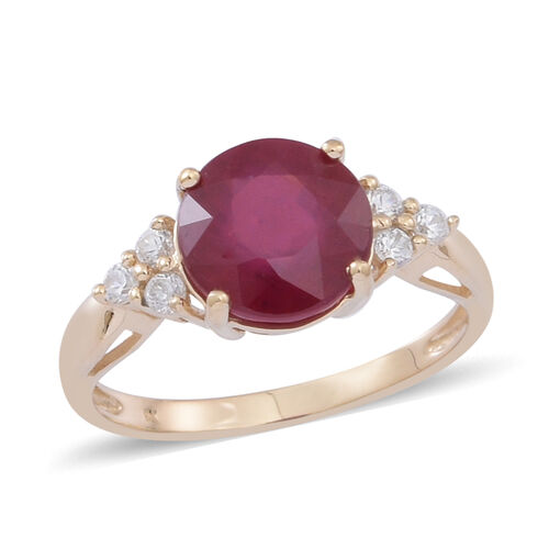 9K Y Gold African Ruby (Rnd 4.50 Ct), Natural Cambodian White Zircon Ring 5.000 Ct.