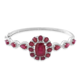 Designer Inspired- African Ruby (Cush 10.50 Ct), White Zircon Bangle (Size 7.5) in Rhodium Plated Sterling Silver 23.250 Ct.