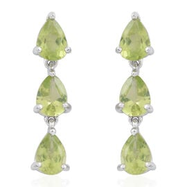 Hebei Peridot (Pear) Earrings (with Push Back) in Rhodium Plated Sterling Silver 4.000 Ct.