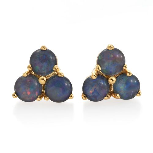 Australian Boulder Opal (Rnd) Stud Earrings (with Push Back) in 14K Gold Overlay Sterling Silver 2.000 Ct.