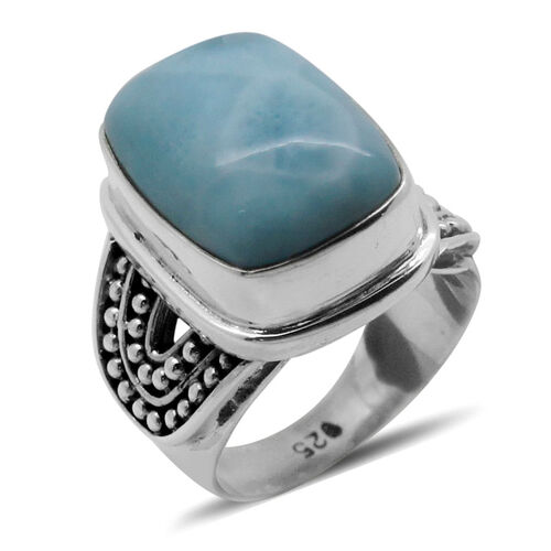 Royal Bali Collection Larimar (Cush) Solitaire Ring in Sterling Silver 10.040 Ct.