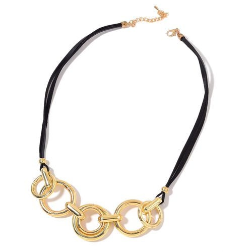 Designer Inspired- Black Colour Bohemian Flair Necklace (Size 24) Gold Plated