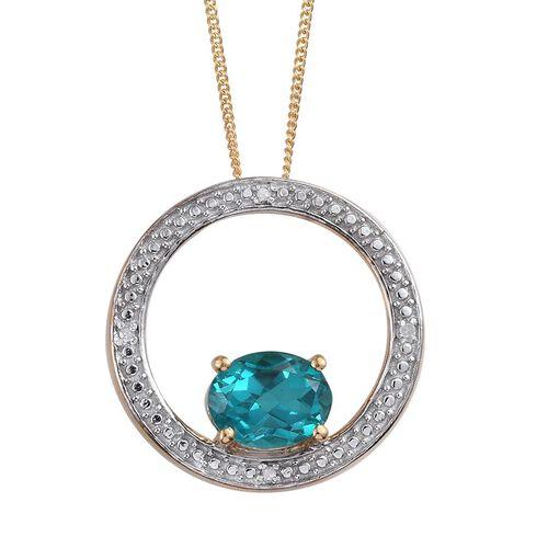 Capri Blue Quartz (Ovl 2.25 Ct), Diamond Pendant With Chain in 14K Gold Overlay Sterling Silver 2.280 Ct.