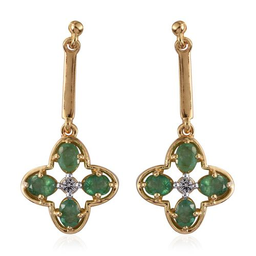 Kagem Zambian Emerald (Ovl), White Topaz Earrings (with Push Back) in 14K Gold Overlay Sterling Silver 1.500 Ct.