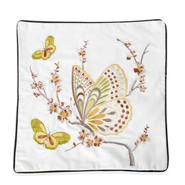 100% Cotton White, Yellow and Multi Colour Butterfly Embroidered Cushion Cover (Size 45x45 Cm)