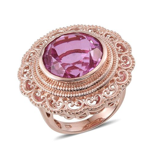 Kunzite Colour Quartz (Rnd) Ring in Rose Gold Overlay Sterling Silver 12.750 Ct.