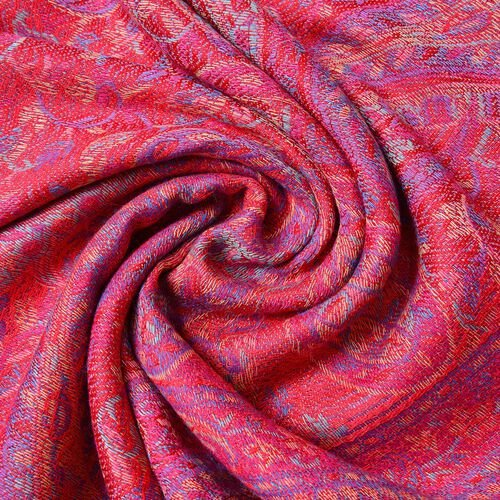 Designer Inspired - Red, Pink and Multi Colour Paisley Pattern Scarf with Tassels (Size 170X68 Cm)