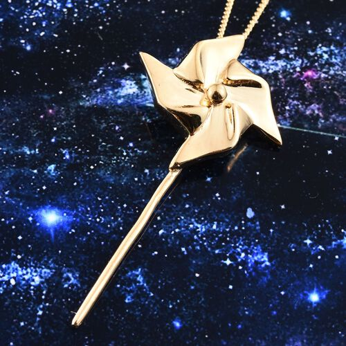 14K Gold Overlay Sterling Silver Origami Pinwheel Pendant With Chain