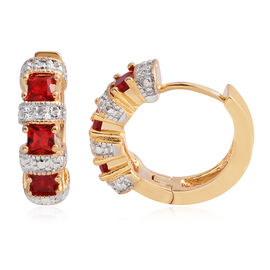 AAA Simulated Ruby (Sqr), Diamond Earrings in Gold Plated
