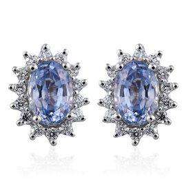 ILIANA 18K White Gold AAA Ceylon Blue Sapphire (Ovl), Diamond (SI/G-H) Stud Earrings (with Screw Back) 1.250 Gms.