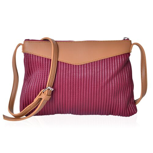 Elegant Burgundy Pleated Crossbody Bag with Adjustable Shoulder Strap (Size 27X24X18 Cm)
