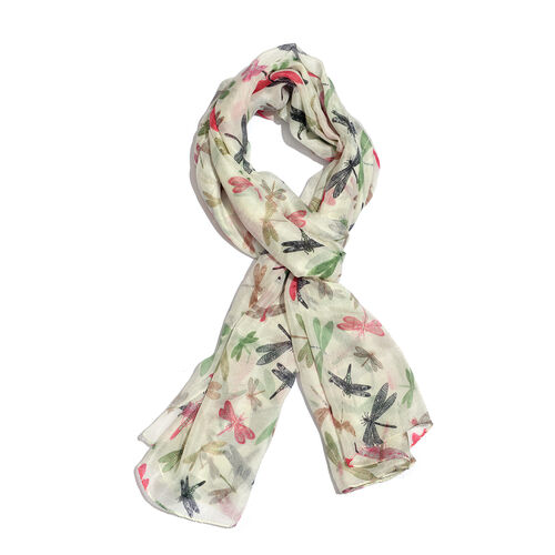 100% Mulberry Silk Pink, Cream and Multi Colour Hand Screen Dragonfly Printed Scarf (Size 180X100 Cm)