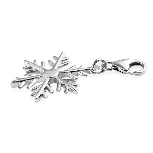 Platinum Overlay Sterling Silver Snowflake Charm, Silver wt 1.60 gms