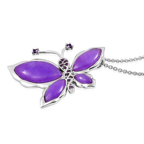 Purple Jade, Rose De France Amethyst and Amethyst Butterfly Brooch or Pendant With Chain in Rhodium Plated Sterling Silver 8.965 Ct. Silver wt. 6.63 Gms.