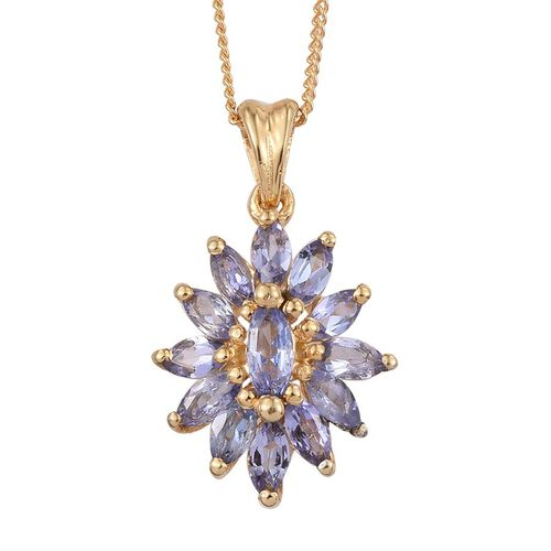 Tanzanite (Mrq) Pendant With Chain in 14K Gold Overlay Sterling Silver 1.150 Ct.