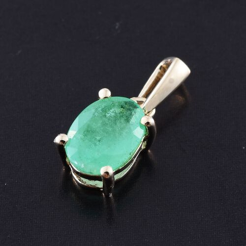 9K Yellow Gold 0.75 Ct AA Boyaca Colombian Emerald Solitaire Pendant