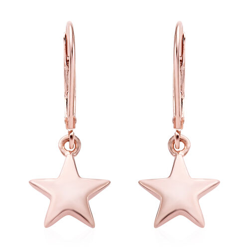 Star Silver Lever Back Earrings in Rose Gold Overlay, Silver Wt 2.57 gms