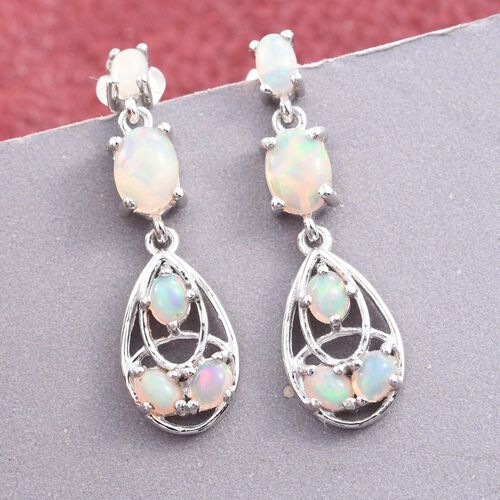 Designer Inspired-Ethiopian Welo Opal (Ovl) Earrings (with Push Back) in Platinum Overlay Sterling Silver 2.060 Ct.