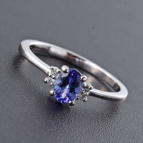 Tanzanite, Natural Cambodian Zircon 0.65 Ct Silver Ring in Platinum Overlay