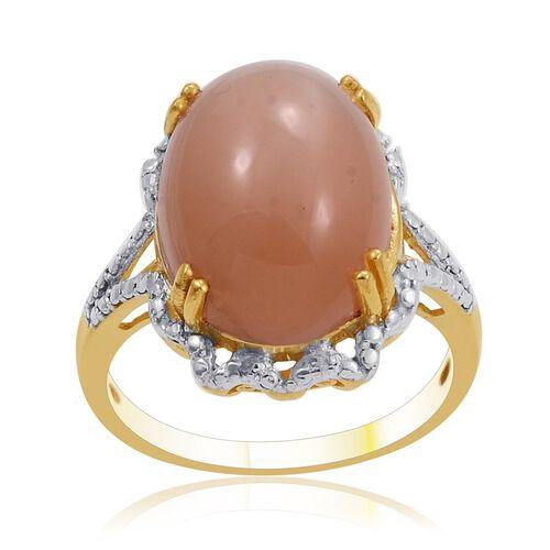 Mitiyagoda Peach Moonstone (Ovl 9.25 Ct), Diamond Ring in 14K Gold Overlay Sterling Silver 9.290 Ct.