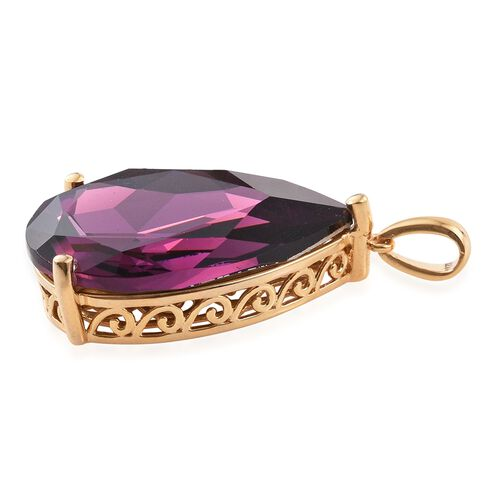 J Francis Crystal from Swarovski - Rubellite Colour Crystal (Pear) Pendant in 14K Gold Overlay Sterling Silver