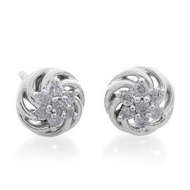 9K White Gold 0.15 Carat Diamond (Rnd) Floral Stud Earrings (with Push Back) SGL Certfied (I3/G-H)