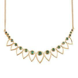 Kagem Zambian Emerald (Rnd) Necklace (Size 18) in 14K Gold Overlay Sterling Silver