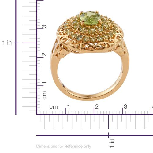 GP Hebei Peridot (Ovl 1.27 Ct), White Topaz and Kanchanaburi Blue Sapphire Ring in 14K Gold Overlay Sterling Silver 3.000 Ct.