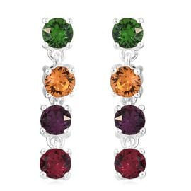 J Francis Crystal From Swarovski - Amethyst Colour Crystal (Rnd), Topaz Colour Crystal, Ruby Colour Crystal and Fern Green Crystal Earrings (with Push Back) in Sterling Silver
