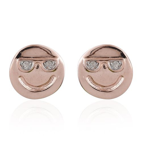 Diamond Happy Smiley Stud Earrings (with Push Back) in Rose Gold Overlay Silver, Silver wt 1.14 gms