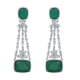 Verde Onyx (Cush 16x12 MM), Natural Cambodian Zircon Earrings (with Push Back) in Platinum Overlay Sterling Silver 31.500 Ct. Silver wt 14.44 Gms.