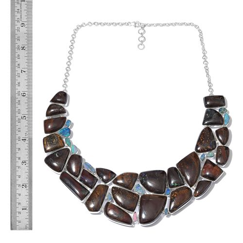 Boulder Opal Rock and Opal Double Necklace (Size 18 with 1 inch Extender) in Sterling Silver 538.950 Ct.