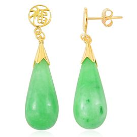 Limited Edition - Hand Carved Green Jade Chinese Character FU (Happiness) Drop Earrings (with Push Back) in Yellow Gold Overlay Sterling Silver 35.000 Ct.