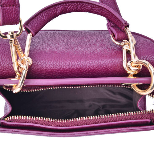 Purple Colour Crossbody Bag with Adjustable and Removable Shoulder Strap (Size 20x20x9 Cm)