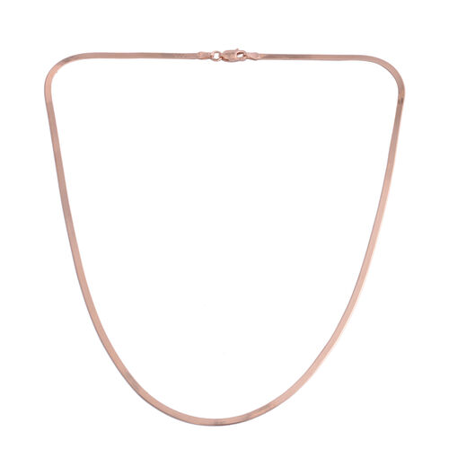 JCK Vegas Collection Rose Gold Overlay Sterling Silver Flattened Snake Chain (Size 18), Silver wt. 3.70 Gms.