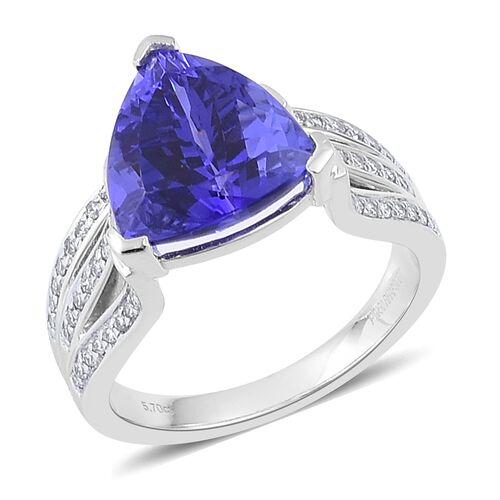 RHAPSODY 950 Platinum AAAA Tanzanite (Trl 5.75 Ct), Diamond (VS/E-F) Ring 6.000 Ct.