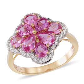 Designer Inspired - 9K Yellow Gold AAA Pink Sapphire (Pear), Natural Cambodian Zircon Ring 3.500 Ct.