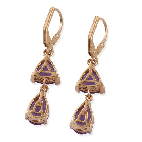 Lavender Alexite (Pear) Lever Back Earrings in 14K Gold Overlay Sterling Silver 6.750 Ct.